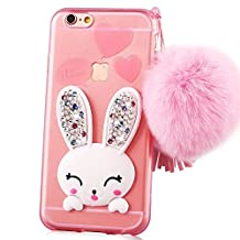 iphone 4 cases, Sunroyal Slim Soft Transparent TPU Crystal Clear 3D Cute Cartoon Rabbit [Bling Diamond Silicon Ear] Case Cover with Hairball Pompon Wrist Strap Wristlet For Apple iPhone 4S 4 Pink