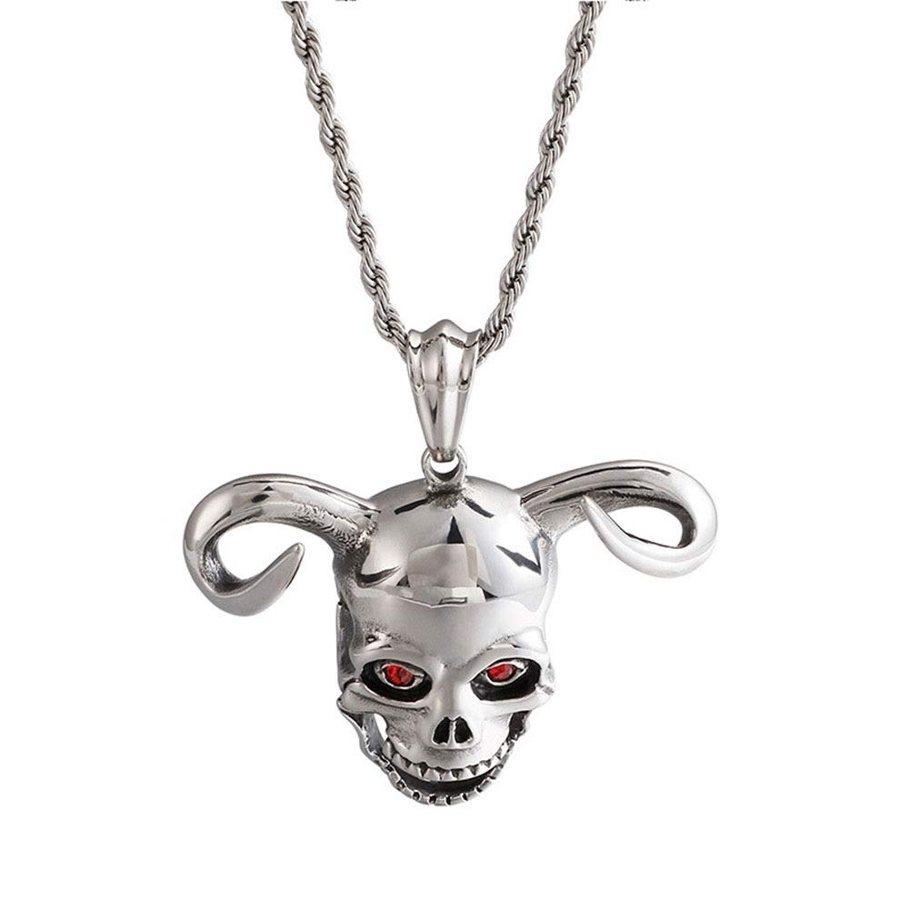 Color : Silver Black , Size : 4658MM Mens Pendant Mens Silver Black Gothic Horn Of Cattle Skull Pendant Stainless Steel Necklace For Men Boy Jewelry Steampunk Pendants Jewelry for Men Choker