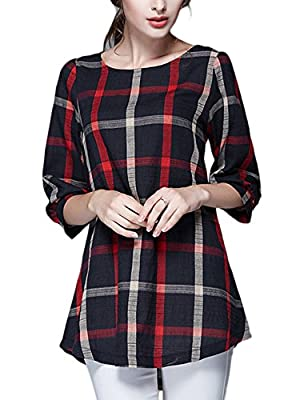 Tanming Womens Half Sleeve Loose Plaid Shirt Dress