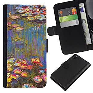 All Phone Most Case / Oferta Especial Cáscara Funda de cuero Monedero Cubierta de proteccion Caso / Wallet Case for Sony Xperia Z3 D6603 // Painting Art Water Flowers