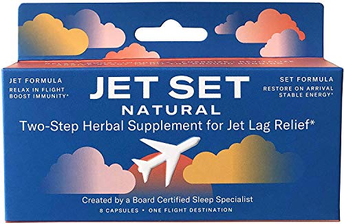 JET SET NATURAL, Jet Lag Pills | Two-Step Herbal Travel Remedy | Sleep Specialist Created | Jet to Relax & Boost Immunity | Set to Energize & Restore | Herbs, Vitamins & Minerals