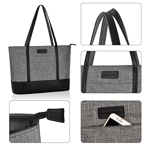 Laptop Bag,Multi Pockets Large Laptop Tote Bag,15.6 Inch Laptop Business Tote Bag for Women[gray] by Sunny Snowy (Image #3)