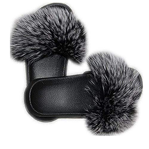 - DAYISS Women Real Fox Fur Feather Vegan Leather Open Toe Single Strap Slip On Sandals