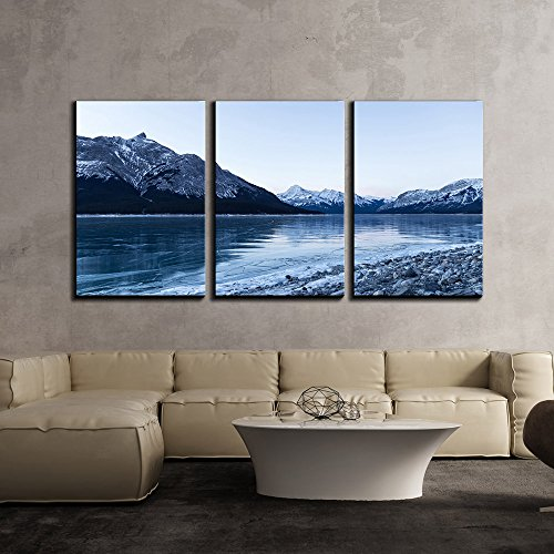 Frozen Lake by the Mountain in Winter x3 Panels