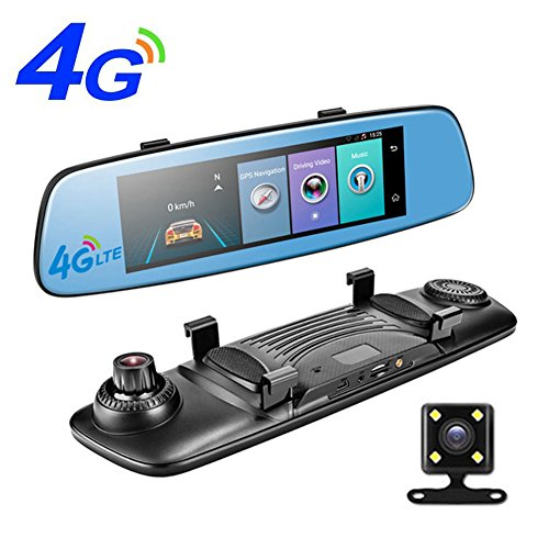 PHISUNG E06 4G Car Dvr 7.84 Inch Touch Adas Remote Monitor Rear View Mirror With Dvr And Camera Android Dual Lens 1080P Wifi Dash Cam,Rom 16GB