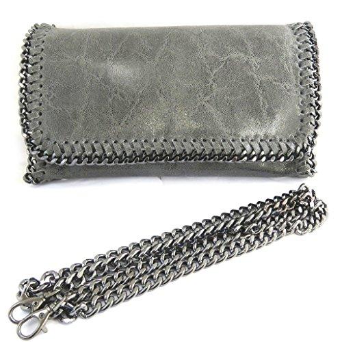Bolso de cuero 'Scarlett'gris brillante (21.5x13x6 cm).
