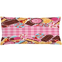 Ice Cream Throw Pillow Cushion Cover by Ambesonne, Candy Cookie Sugar Lollipop Cake Ice Cream Girls Design, Decorative Square Accent Pillow Case, 36 X 16 Inches, Baby Pink Chestnut Brown Caramel