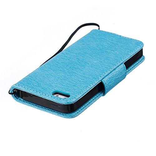 iPhone SE / 5 / 5S Custodia in Pelle Protettiva Flip Cover per iPhone SE / 5 / 5S Snap-on Magnetico Bookstyle TPU Case - Cozy Hut Fatto a Mano Custodia Wallet Protettiva Portafoglio Stand Case Magneti