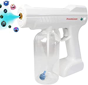ANCROWN Disinfectant Steam Gun, Handheld Rechargeable Nano Atomizer 27oz Large Capacity ULV Electric Sprayer Nozzle Adjustable Fogger for Home, Office, School or Garden
