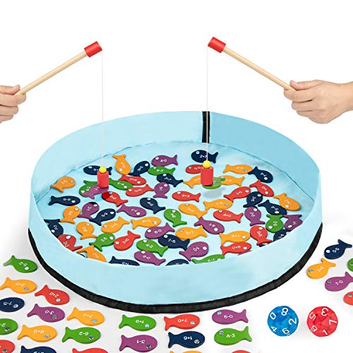 Gamenote Addition & Subtraction Wooden Magnetic Fishing Game - 110 Math Facts Within 20 for Kindergarden 1st 2nd 3rd Grade Kids (Include 2 Poles & 2 Dice & Activity Guide)