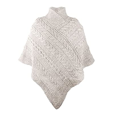 100% Irish Merino Ladies Aran Knit Poncho by West End Knitwear