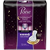 Poise Overnight Incontinence Pads Ultimate Absorbency Extra Coverage, 72 Count
