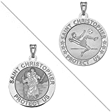 Soccer - Saint Christopher Doubledside Sports Religious Medal 3/4 Inch Sterling Silver