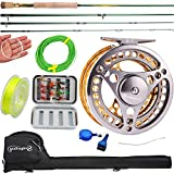 Sougayilang Fly Fishing Rod Reel Combos with Lightweight Portable Fly Rod and Fly Reel,Fly Fishing Complete Starter Package(Golden-7/8)