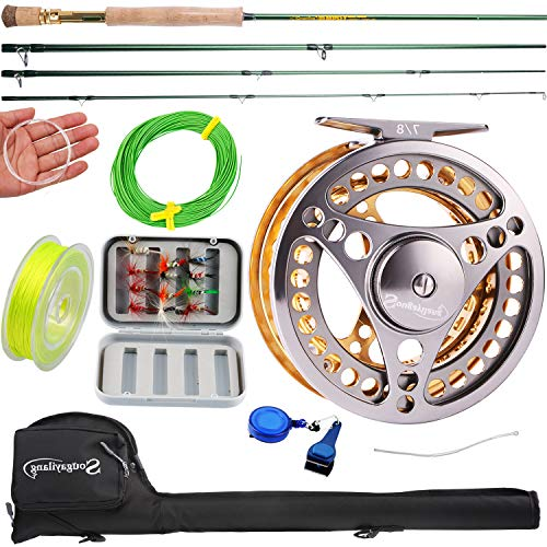 Sougayilang Fly Fishing Rod Reel Combos with Lightweight Portable Fly Rod and Fly Reel,Fly Fishing Complete Starter Package(Golden-7/8) - Fly Starter Rod Fishing