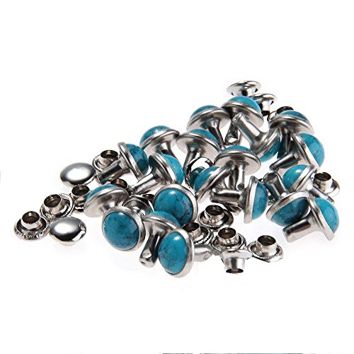 RUBYCA Blue Turquoise Rapid Rivets Studs DIY Leather-Craft for Bag Shoes Bracelet Tandy Leather 8MM 100pcs