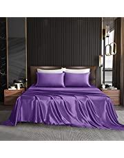 HommxJF Satin Sheets Cooling Sheets Size Sheets Set Silky Sheets , 4 Piece Bedding Sheets & Pillowcases with 1 Flat Sheet + 1 Deep Pocket Fitted Sheet + 1/2 Pillowcases