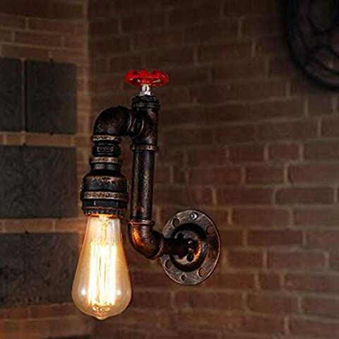 L@YC Retro Nostalgic Aisle Stairway Entrance Lighting American Industrial Bar Net Cafe Creative Single Head Water Pipe Wall Light , - Water Spots Chrome