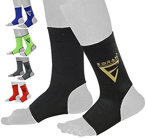 EMRAH (PAIR) Ankle Support Wraps For MMA, Muay Thai, Boxing, Brazilian Jiu-Jitsu -X (Black, Large)