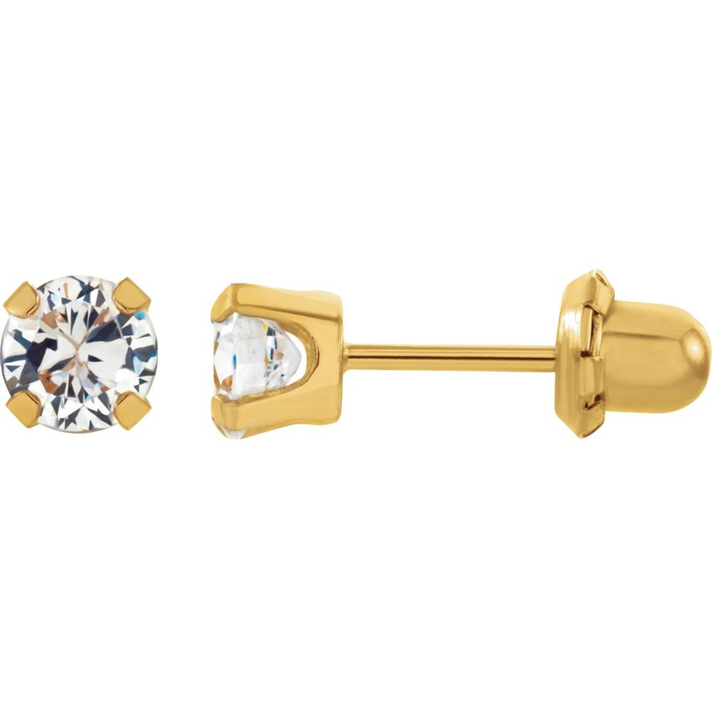 14k Yellow Gold 5mm Polished Invernes Cubic Zirconia Piercing Earrings by JewelryWeb