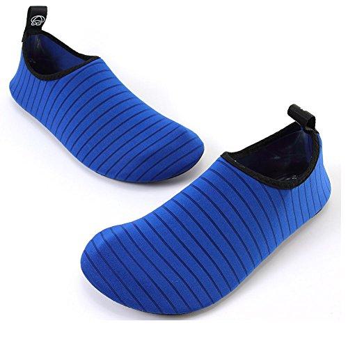 FCKEE Wasserschuhe Aqua Schuhe Aqua Socken Slip-On Barefoot Leichte Quick-Dry Dauerhafte Sohle Urlaub Mutifuntional für Beach Pool Surfen Yoga Frauen Männer Blau