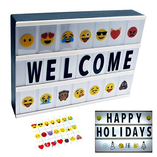2019 Model Cinema Light Box with Letters and Emoji A4 Message Board (White)