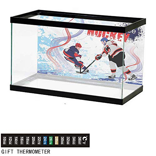 (wwwhsl Aquarium Background,Hockey,Two Ice Hockey Players in Cartoon Style on Grunge Abstract Skating Rink Backdrop,Multicolor Fish Tank Backdrop 24