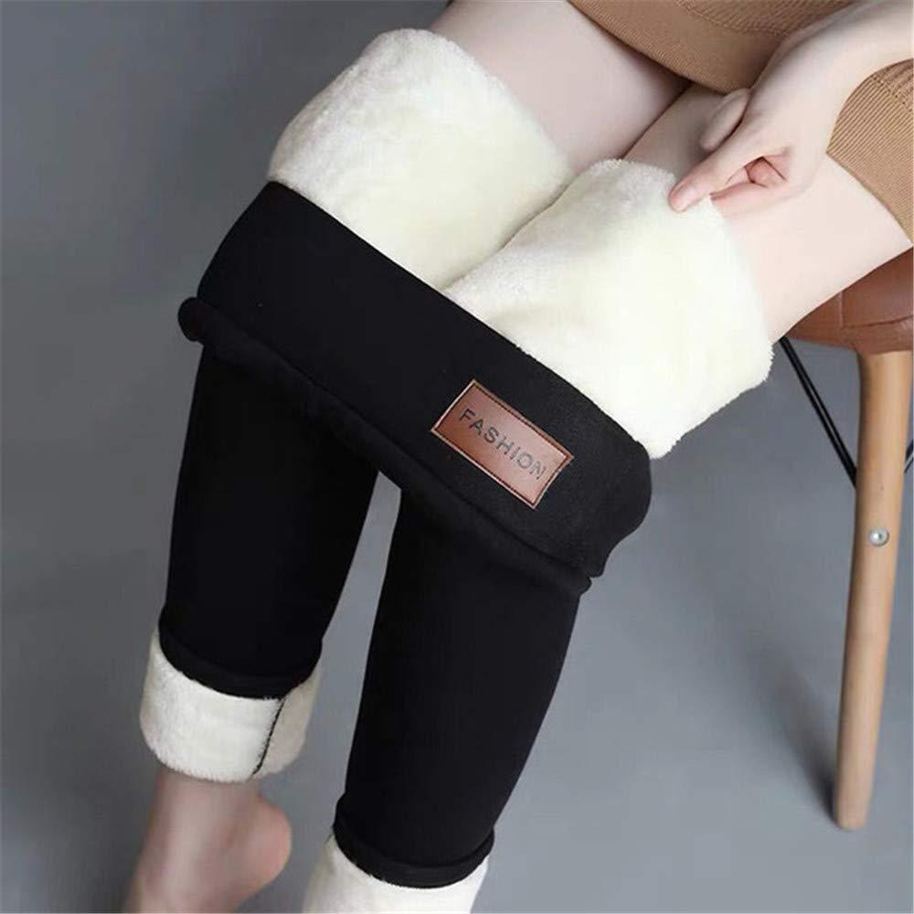 Pantalon Chaud Noir Hiver Skinny /épais Velours Laine Casual Molleton Pantalons Pantalons en Peau dagneau Cachemire pour Femmes Leggings,Leatherlabel,M