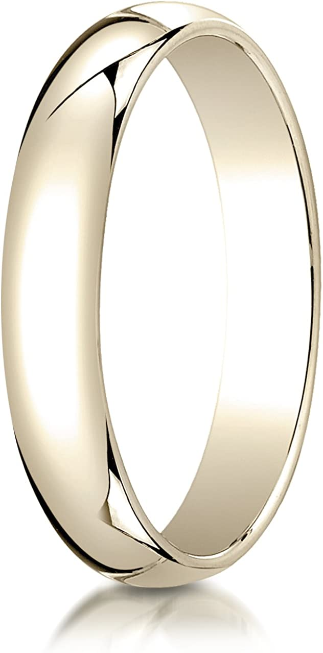 Sizes 4-15 Benchmark 10K Yellow Gold 5mm Slightly Domed Traditional Oval Wedding Band Ring