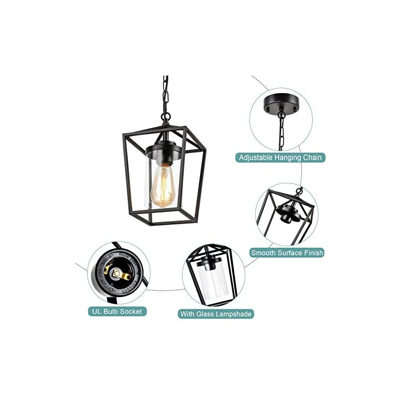 HMVPL Farmhouse Pendant Light Fixture, Black Ceiling Hanging Lights with Glass Lampshade , Swag Chandeliers for Bedroom…