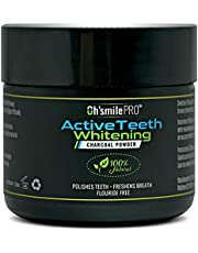Activated Teeth Whitening Charcoal Powder By Oh'Smile Pro 100% Natural - ULTRA Fine Organic Coconut Charcoal Powder – Sweet Mint Flavour - Toothpaste Sensation.