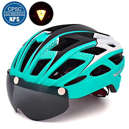 VICTGOAL Bike Helmet for Men Women with Safety Led Back Light Detachable Magnetic Goggles Visor Mountain & Road Bicycle Helmets Adjustable Adult Cycling Helmets (New Cyan)