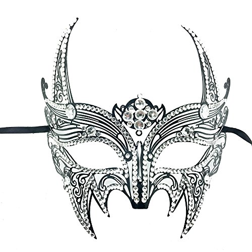 New Wolverine Men & Women Unisex Mask Laser Cut Venetian Halloween Masquerade Mask Costume Extravagant Inspire Design (BK W/ ALL DIAMOND AROUND) - Elegant Laser Cut Mask