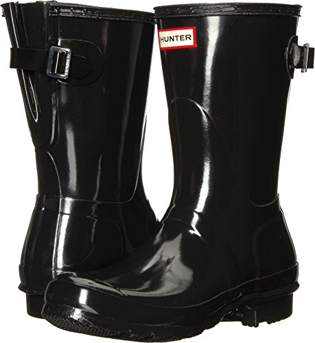 (Hunter Women's Original Back Adjustable Short Gloss Rain Boots Black 7 M US)