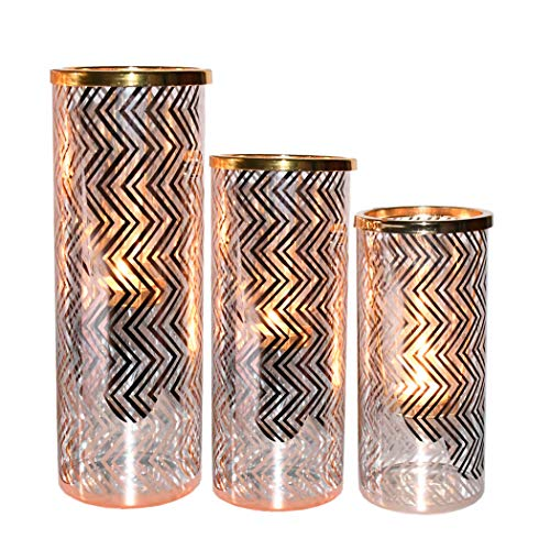 Beauty Life Glass Tealight Candle Holders Trio, Candle Holders Set of 3 with Rose Gold Wavy Stripes Fits Tealight Candles - Centerpieces for Wedding, Bridal, Party and Home Decor (2.8 Pounds) ()