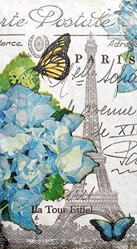 Creative Converting Set of 36 Guest Towels Buffet Napkins ~ Paris (Paris Hydrangea)