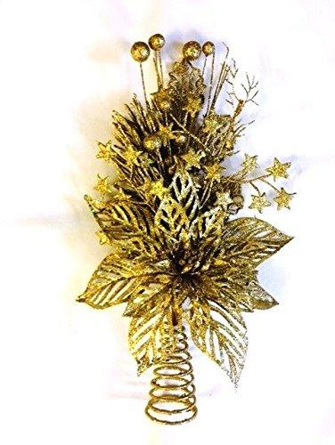 Puntale A Stella Per Albero Di Natale.Puntale Floreale Con Stella Di Natale Dorato Glitterato Per