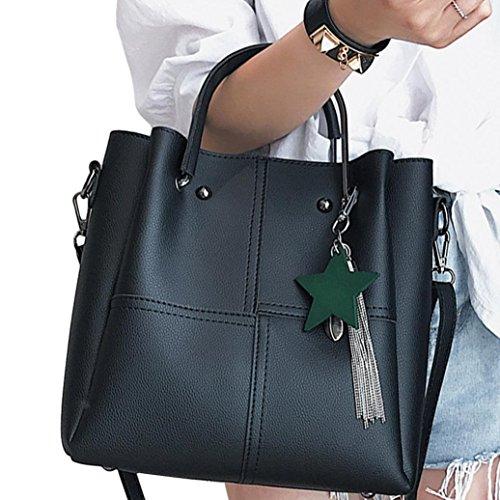 Classic PU Leather Modern Crossbody Zipper Bags Shoulder 2 Bag Lightweight Tote Pcs Black Casual Bags Clearance Shoulder Hanle Messenger Bag Top Handbag Women Halijack Sale Ladies CnPwpZpq