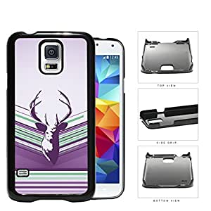 Purple Deer Buck Head Vector with Purple Lilac & Green Stripes Samsung Galaxy S5 SM-G900 Hard Snap on Plastic Cell Phone Case Cover