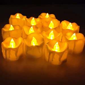 kekilan LED Flameless Candles Tealight with Timer Electric Flickering Battery Operated Candles for Valentine's Day,Christmas,Hallowen,Party,Wedding Decorations (Tea Lights-1)
