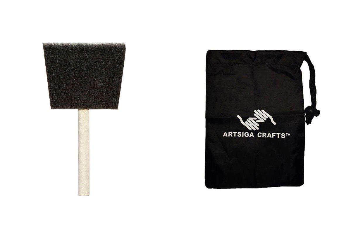 Darice Paint Brushes Sponge Brush 4in. (48 Pack) 97781 Bundle with 1 Artsiga Crafts Small Bag