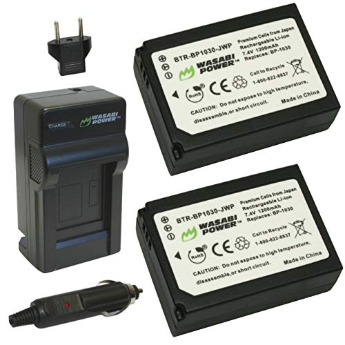Wasabi Power Battery (2-Pack) and Charger for Samsung BP1030, BP1130, ED-BP1030 and Samsung NX200, NX210, NX300, NX1000, NX1100, NX2000