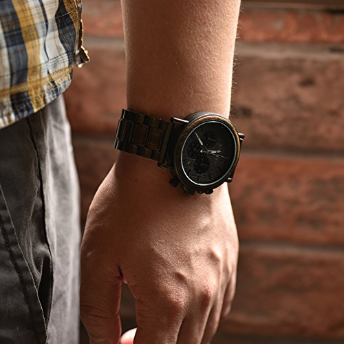 Engraved Personalized Wooden Watch for Boyfriend My Man Fiancé Husband Customized Wooden Watches for Men Personalized Watch (B-for Son from Mom)