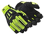 Hi-Viz Cut Resistant Impact Work Gloves | Cut Level A6 Safety Gloves for Oil and Gas Rigging and Refining (TRX742-L) - Black/Yellow, Size Large (1 Pair)