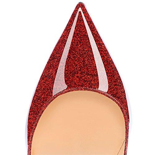 Talon Aiguille Briller Femmes Synthétique Bout EDEFS Pointu Red Brillant Coloris Fermé Noir Stiletto Escarpins Plusieurs gqqzO8w
