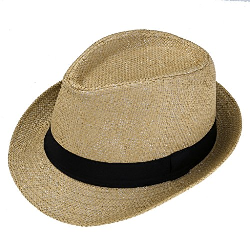 Ayliss Summer Straw Fedora Hat Short Brim Beach Sun Cap,Khaki