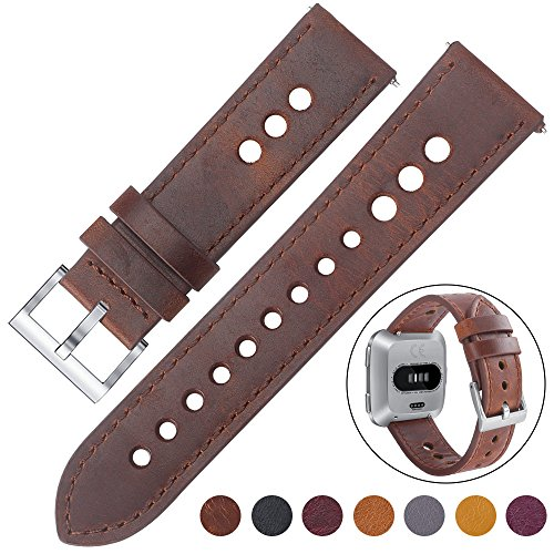 EZCO Compatible Fitbit Versa Bands, Classic Vintage Genuine Leather Band Breathable Watch Strap Replacement Wristband Accessories Compatible Fitbit Versa Smart Watch Women Man, Saddle Brown