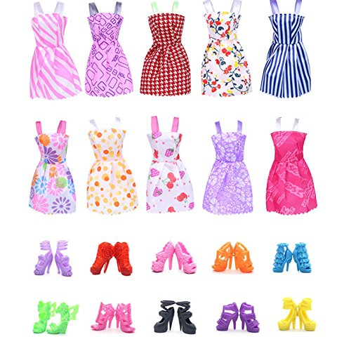 UUsave 10 Pack Doll Dress Party Gown Outfits Doll Clothes for Barbie + 10 Pairs Doll Shoes For Barbie, Girls Birthday