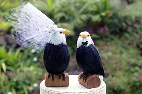 "American Bald Eagle Cake Topper: ""Bride and Groom"" Love Bird Wedding Cake Topper in Brown, White and Yellow"