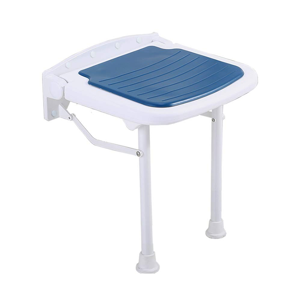 BEAUTY--shower stool Folding Wall Stool Safety/Slip Change Shoe Bench Old Man Bath Chair Aluminum Alloy, 4 Colors to Choose from (Color : Blue)